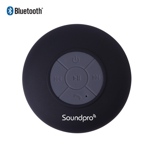 IBSound Waterproof Bluetooth Shower Speaker - Portable / Wireless Handsfree Speaker - Work with iPhone 5, 5s, 4s, 4, iPod, iPad, Samsung Galaxy S4, S5, Note 3, 2, Tablets, MP3, Notebooks, Laptop, PC and Other Smartphones - with Built-in MIC and Suction Cups - for Bathroom, Kitchen, Living Room, Pool, Boat, Car, Beach and Outdoor Use - 1 Year Warranty (Black)