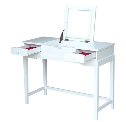 Solid Wood Vanity Table (Snow White Finish)