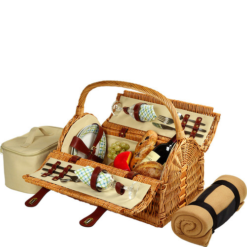Picnic at Ascot Sussex Willow Picnic Basket with Service for 2 with Blanket