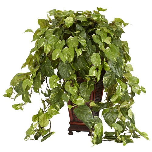 36 in. H Green Vining Pothos with Decorative Vase Silk Plant