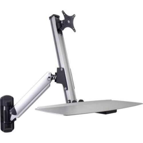 DoubleSight Displays DS-ERGO-100WM Ergonomic Sit/Stand Monitor Arm and Keyboard Tray Wall Mount up to 30