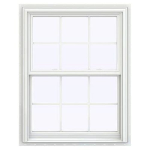 JELD-WEN 31.5 in. x 47.5 in. V-2500 Series Double Hung Vinyl Window with Grids - White