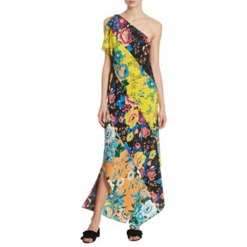 DIANE VON FURSTENBERG One-Shoulder Floral Silk Dress