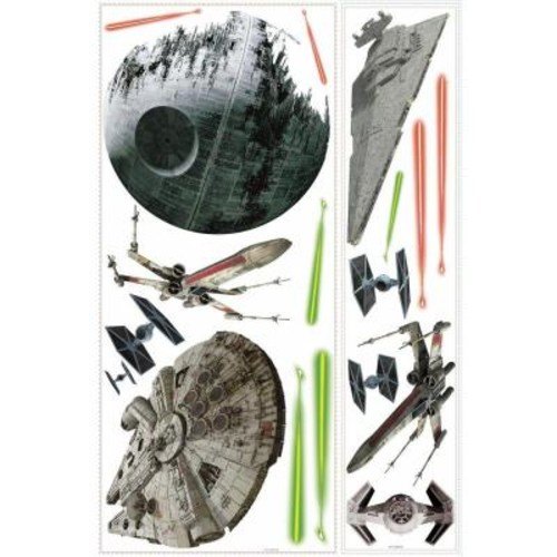 RoomMates 5 in. W x 19 in. H Star Wars Classic Ships 17-Piece Peel and Stick Giant Wall Decal