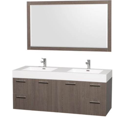Wyndham Collection Amare Dove Grey Acrylic Resin Top Integrated Sinks 60-inch Double Vanity with 58-inch Mirror