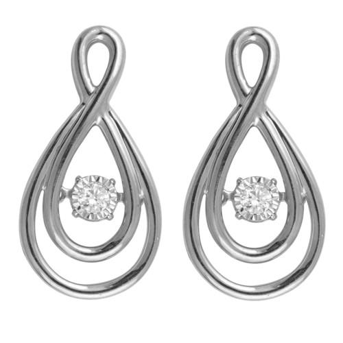 Sterling Silver 1/10 cttw Diamond Double Infinity Earrings