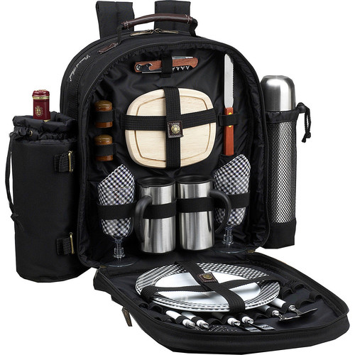 Picnic at Ascot - Deluxe Equipped 2 Person Picnic Backpack with Coffee Service, Cooler & Insulated Wine Holder - Black [Black/Gingham]
