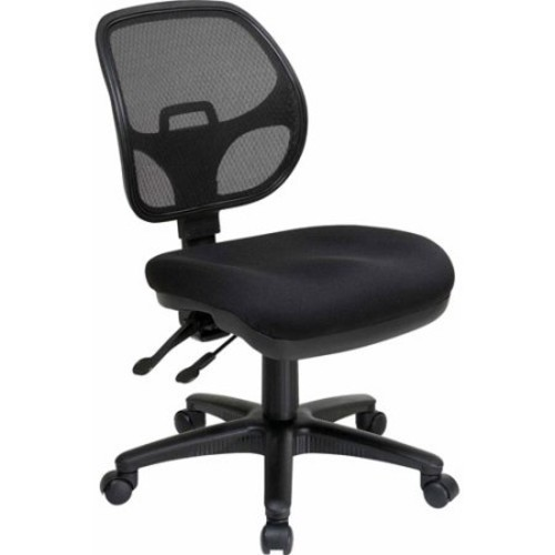 Office Star Breathable ProGrid Back and Padded Seat, Armless Ergonomic Task Chair, Black [Black]