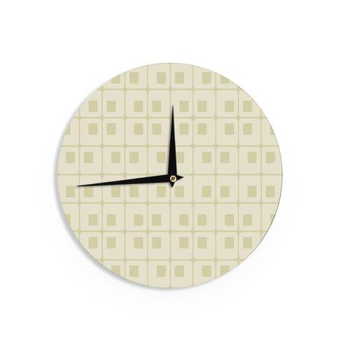 KESS InHouseFotios Pavlopoulos 'Squares in Square' Tan Shapes Wall Clock