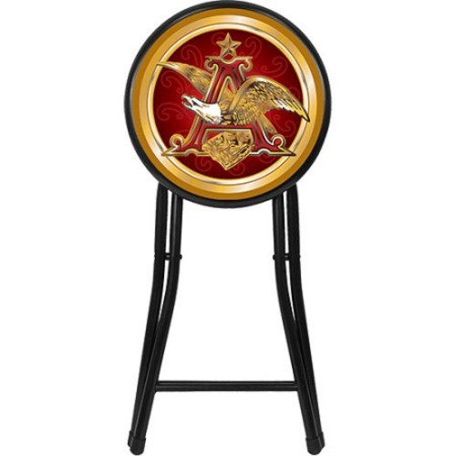 Trademark AB1800-AE 18 Inch Cushioned Folding Stool With Officially Licensed Budweiser Logo, Anheuser Busch
