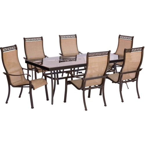 Hanover Monaco 7-Piece Aluminum Outdoor Dining Set with Rectangular Glass-Top Table and Contoured Sling Stationary Chairs