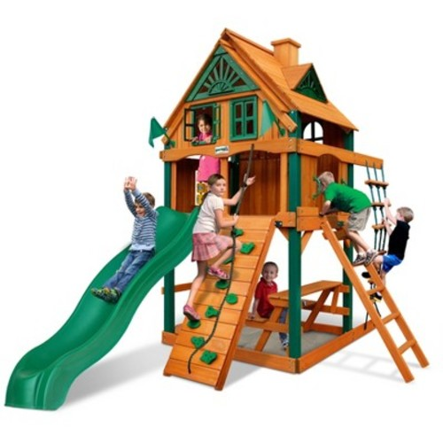Gorilla Playsets Chateau Tower Treehouse with Fort Add-On & Timber Shield