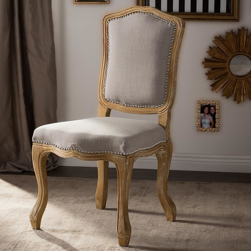 Baxton Studio Chateauneuf Beige Fabric Upholstered Dining Chair