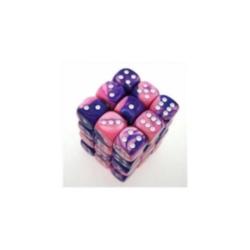 Chessex Manufacturing 26855 D6 Cube Gemini Set Of 36 Dice, 12 mm - Pink & Purple With White Numbering