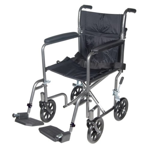 Drive Medical Lightweight Steel Transport Wheelchair with Fixed Full Arms 17 inch Silver Vein
