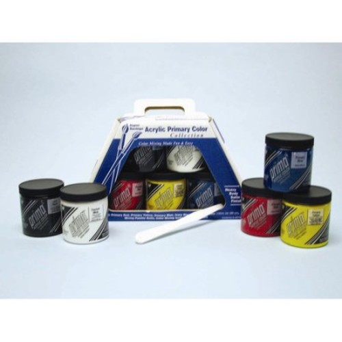Prima Acrylic - Primary Color Set (Five 236 mL Jars) & More