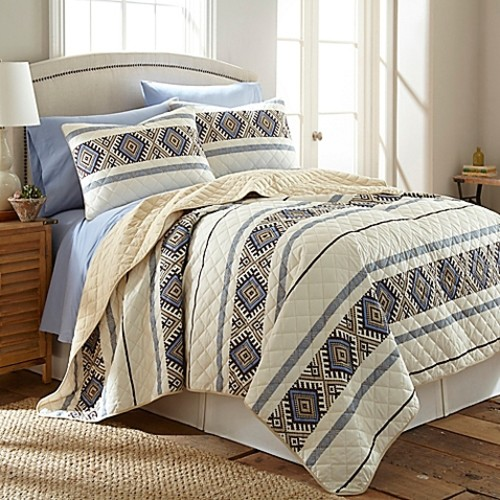 Micro Flannel Twin Quilt Set in Lodge Stripe