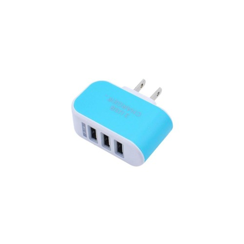 SODIAL Universal 3.1A Triple USB 3 Port Wall Home Travel AC Charger Adapter US Plug(US blue)