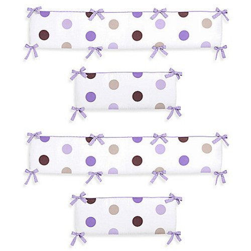 Sweet Jojo Designs Mod Dots Crib Bumper in Purple/Chocolate