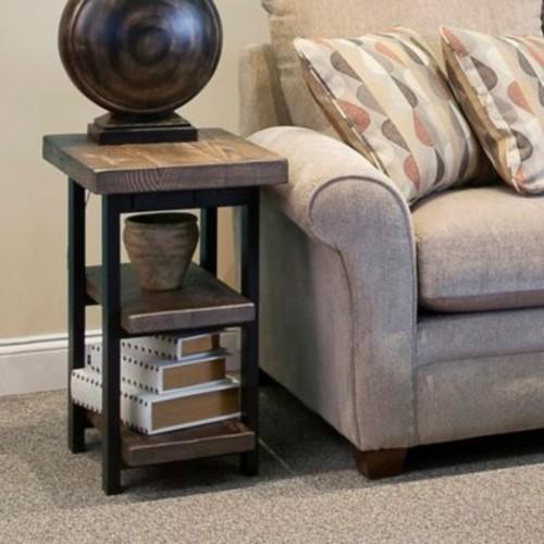 Pomona Metal and Reclaimed Wood 2-Shelf End Table