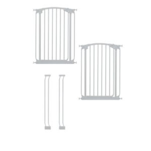 Dreambaby Chelsea 40 in. H. Extra Tall Auto-Close Security Gate in White Value Pack with 2 Gates and 2 Extensions