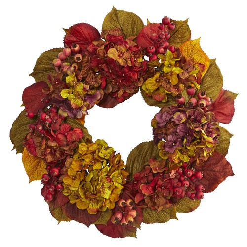 Nearly Natural 24 in. Fall Hydrangea Wreath