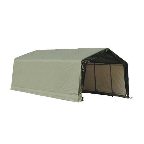 ShelterLogic 73442 Green 12'x20'x10' Peak Style Shelter [Green, 12'x20'x10']