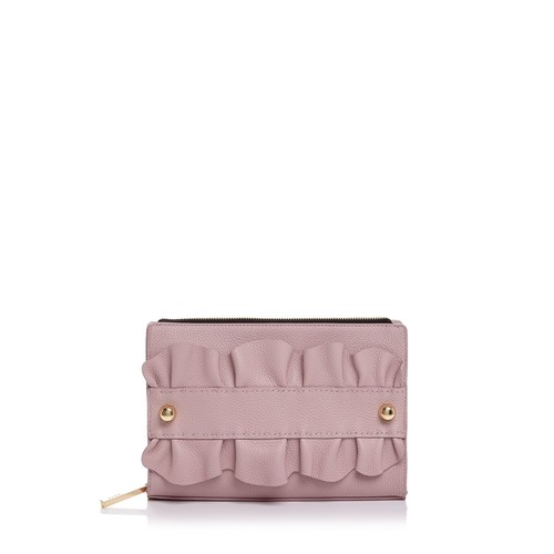 MILLY Ruffle Top Zip Leather Clutch