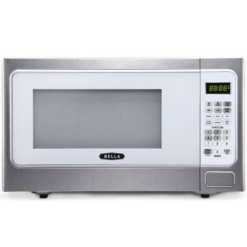 Bella 1000-Watt Stainless Steel and White Microwave Oven, 1.1 Cubic Feet 4295