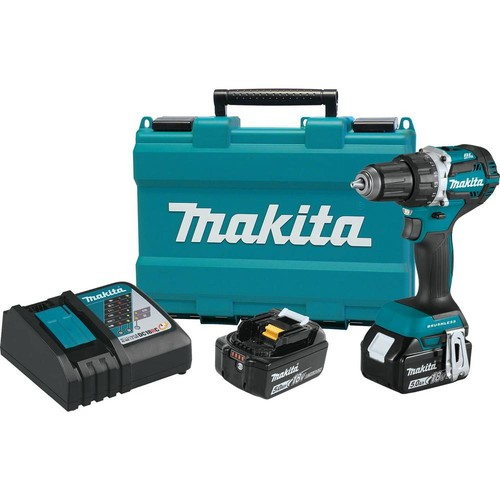 Makita 18-Volt LXT Lithium-Ion Compact Brushless Cordless 1/2 in. Driver-Drill Kit w/ (2) Batteries (5.0Ah), Charger, Hard Case
