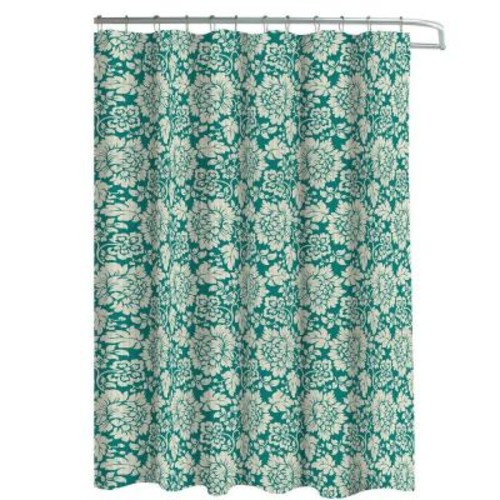 Creative Home Ideas Oxford Weave Textured 70 in. W x 72 in. L Shower Curtain with Metal Roller Hooks in Blue Ivory