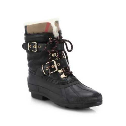 BURBERRY Windmere Buckled Leather & Shearling Boots