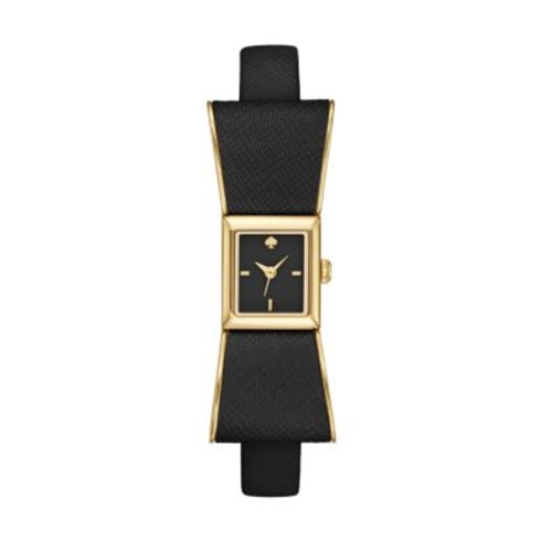 Kenmare Goldtone Stainless Steel & Saffiano Leather Bow Strap Watch/Black