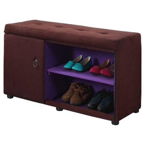 Brown Shoe Compartment Ottoman