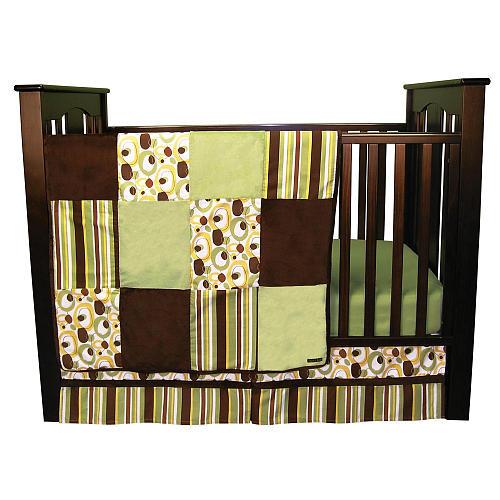 Trend Lab Giggles 6 Piece Crib Bedding Set - Green/Brown