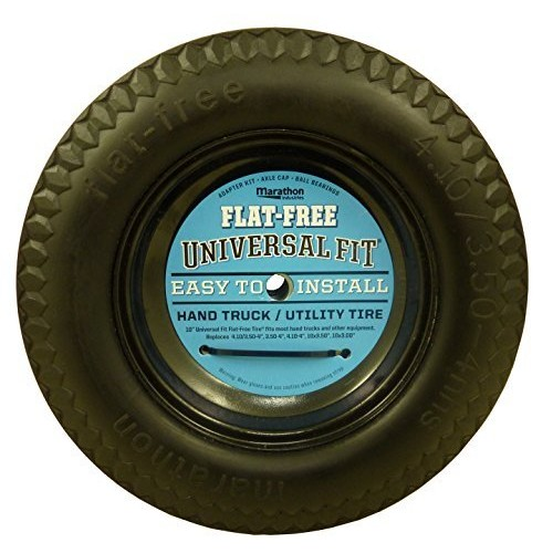 Marathon Universal Fit, Flat Free, Hand Truck / All Purpose Utility Tire on Wheel with Adapter Kit [Flat Free]