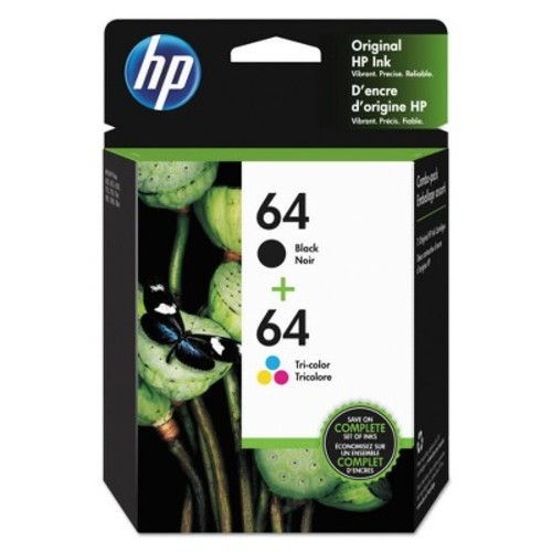 HP 64 Black and Tri-color High Yield Original Ink Cartridges (X4D92AN#140)