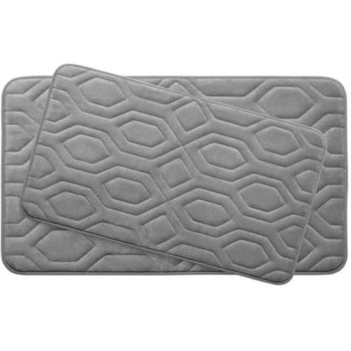 BounceComfort Turtle Shell Light Gray Memory Foam 2-Piece Bath Mat Set