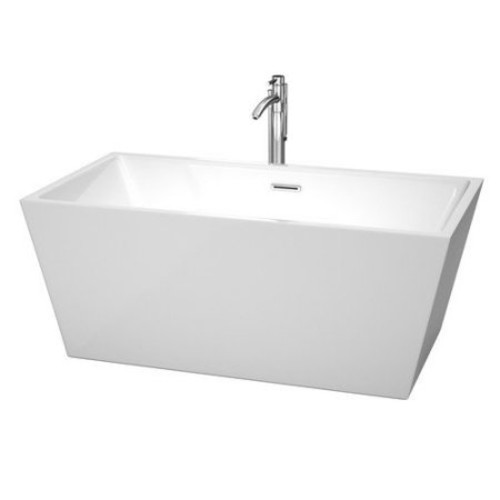 Wyndham Collection Sara 59 in. Acrylic Flatbottom Center Drain Soaking Tub in White with Floor Mounted Faucet in Chrome