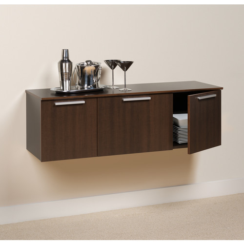 Prepac Coal Harbor Wall-Mounted Buffet w/ Storage - Espresso