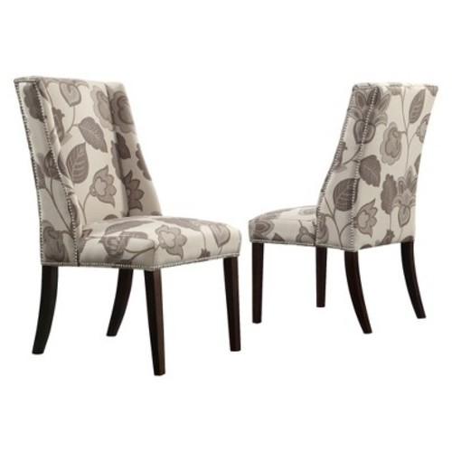 Harlow Wingback Floral Dining Chair with Nailheads Wood/Gray (Set of 2) - Inspire Q