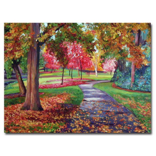 'September Park' by David Lloyd Glover Framed Painting Print on Wrapped Canvas
