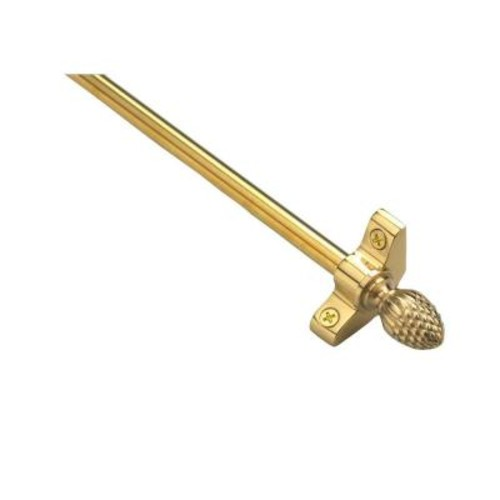 Zoroufy Plated Inspiration Collection Tubular 48 in. x 3/8 in. Polished Brass Finish Stair Rod Set with Pineapple Finials