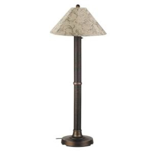 Patio Living Concepts Bahama Weave 60 in. Dark Mahogany Floor Lamp with Bessemer Shade
