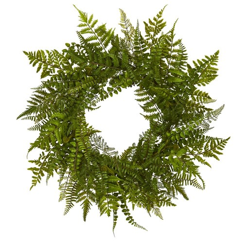 Nearly Natural 24 in. Mixed Fern Wreath