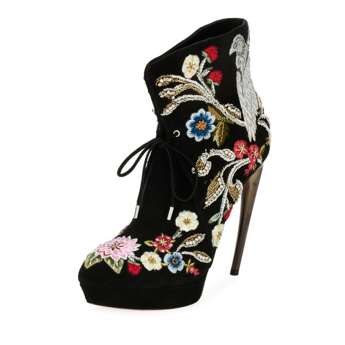 ALEXANDER MCQUEEN Embroidered Lace-Up Bootie, Black