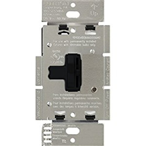 Lutron Toggler Dimmer Switch for Halogen and Incandescent Bulbs, Single-Pole or 3-Way, AY-600P-BL, Black [Black]