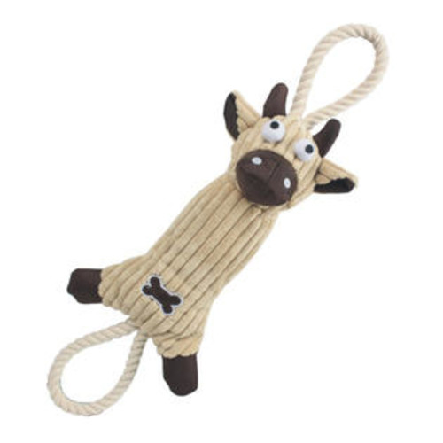Pet Life Jute And Rope Plush Cow - Pet Toy- Brown
