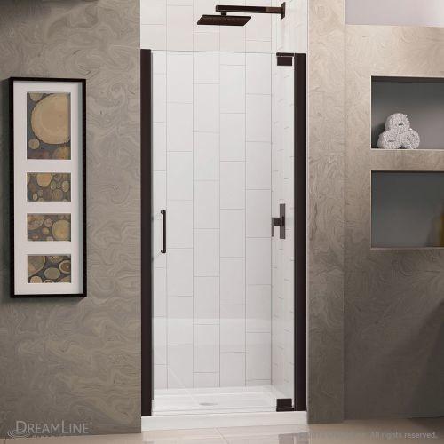 DreamLine Elegance 27 in. to 29 in. x 72 in. Semi-Frameless Pivot Shower Door in Oil Rubbed Bronze