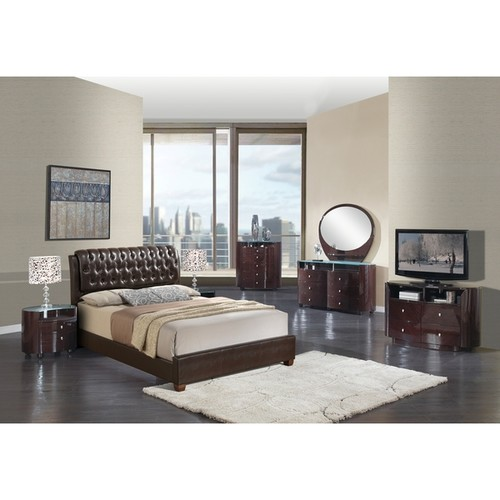 Brown Faux Leather High Back Queen Bed